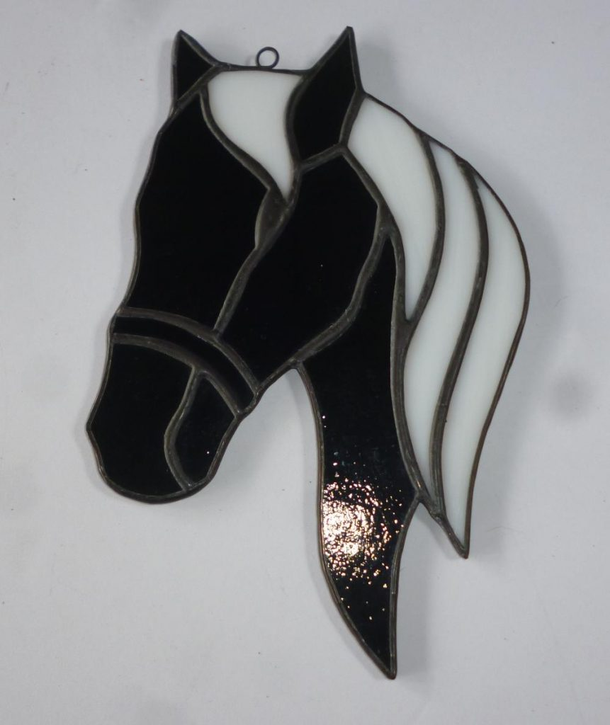 Belize Stained Glass Black White Horse Head