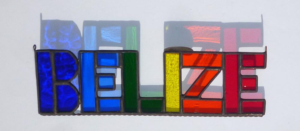 Belize Stained Glass Belize Sign